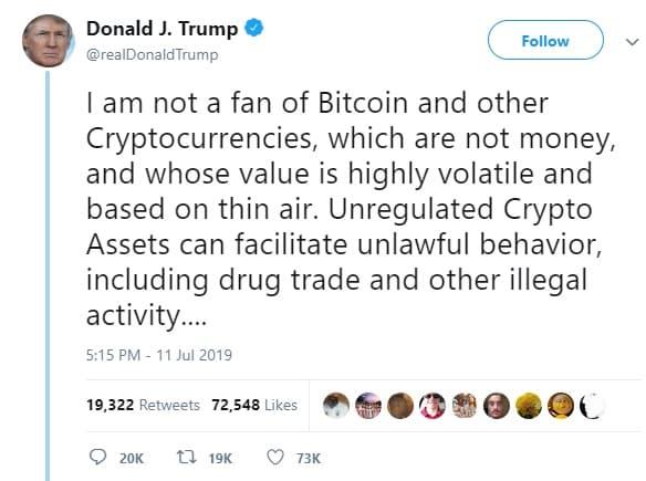 tweet trump tentang bitcoin