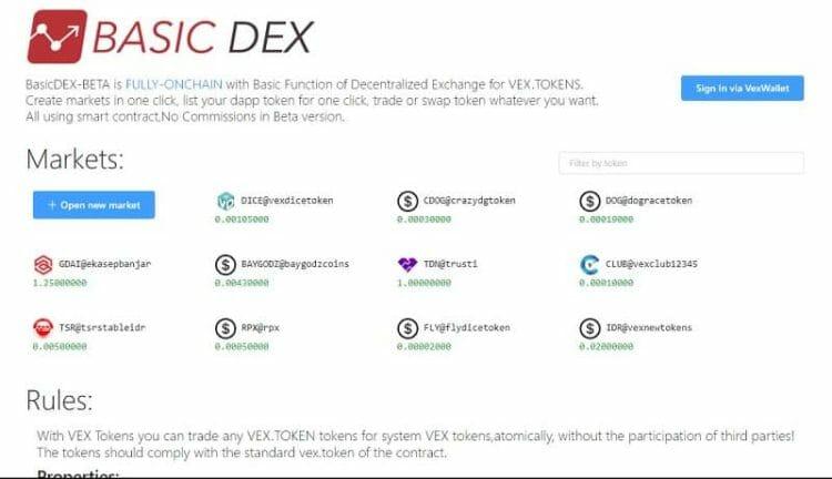 decentralized exchange vex
