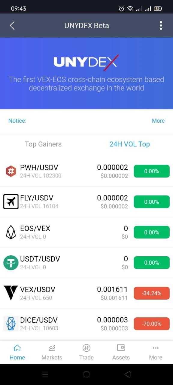 Decentralized Exchange Unydex